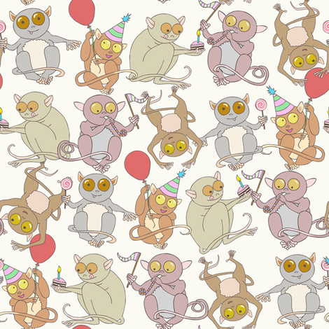 Party Tarsiers fabric by leeleeandthebee on Spoonflower - custom fabric