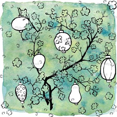 Paper Lanterns & Cherry Blossoms! (pen, ink & watercolor)