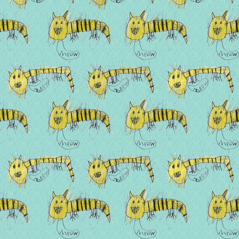 Bubbie's tiger cats fabric by weavingmajor on Spoonflower - custom fabric