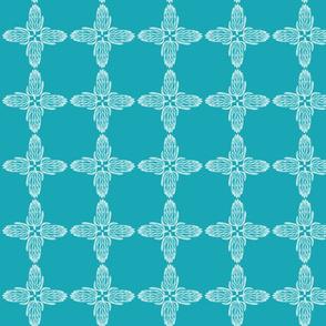 turquoise white protea cross