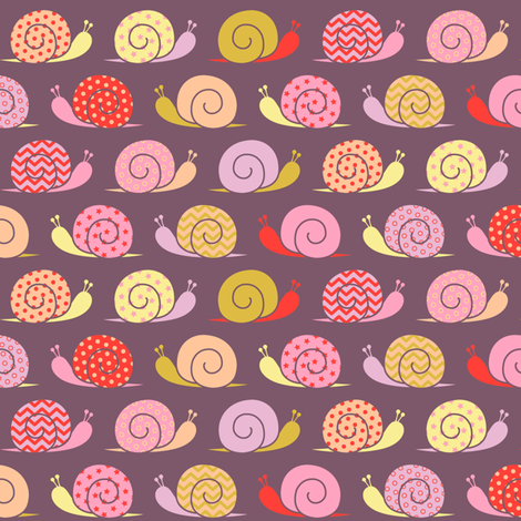 snails on parade - pink fabric by cheyanne_sammons on Spoonflower - custom fabric