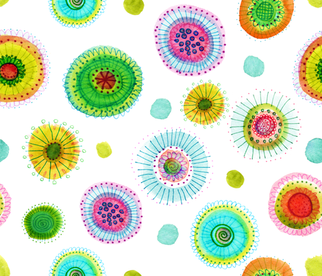 Water Flowers fabric by snowflower on Spoonflower - custom fabric