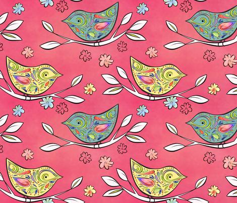 MOD BIRDS fabric by saspresso on Spoonflower - custom fabric