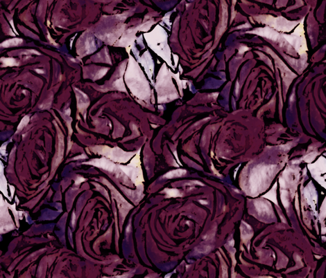 Haddyr ~ Pen & Ink Style Roses fabric by peacoquettedesigns on Spoonflower - custom fabric