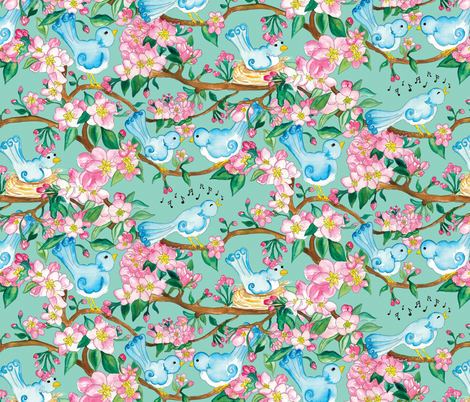 Chirpy Birds fabric by beebumble on Spoonflower - custom fabric