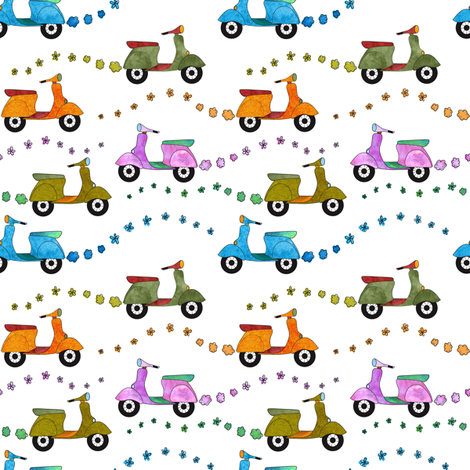 Beep Beep: Mod Scooters fabric by vo_aka_virginiao on Spoonflower - custom fabric