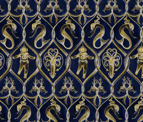Tethys Trellis, Dark fabric by ceanirminger on Spoonflower - custom fabric