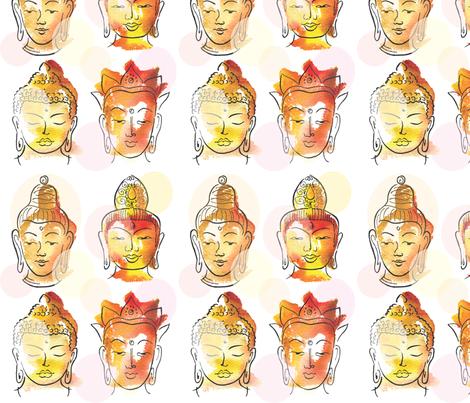 4 Buddha heads fabric by sandrab on Spoonflower - custom fabric