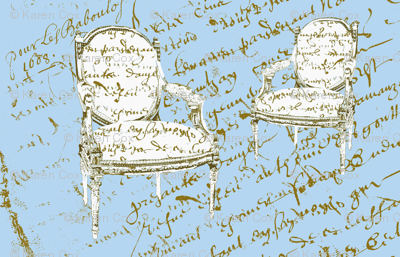 Two French Chairs, powder blue