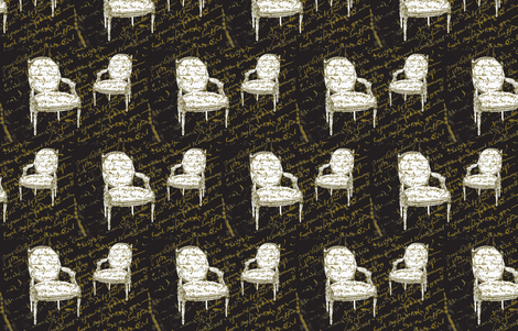 Two French Chairs, black fabric by karenharveycox on Spoonflower - custom fabric