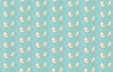Two French Chairs,aqua fabric by karenharveycox on Spoonflower - custom fabric