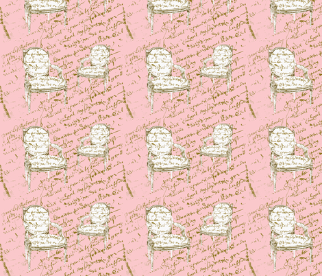 Two French Chairs, on pink fabric by karenharveycox on Spoonflower - custom fabric