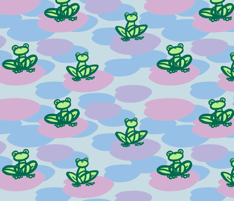 Frogs on Lilypads fabric by ophedia on Spoonflower - custom fabric