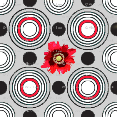 Retrocentric Poppy Circles Grey