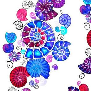 watercolour ammonites