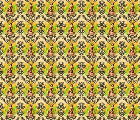 Damask Matahari on Cream fabric by lovekittypink on Spoonflower - custom fabric
