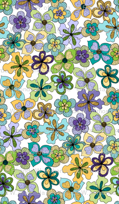 Funky Fantasy Flowers - Cool Spring on White, Double Ditsy.
