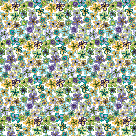 Funky Fantasy Flowers - Cool Spring on White, Double Ditsy. fabric by rhondadesigns on Spoonflower - custom fabric