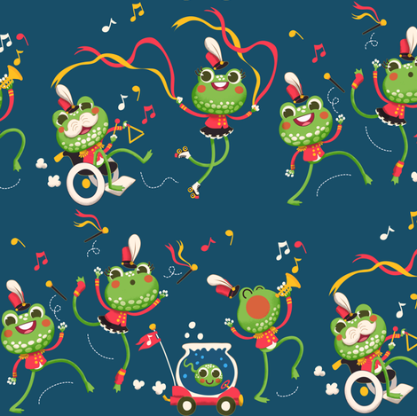 It's the Frog Parade!  fabric by irrimiri on Spoonflower - custom fabric