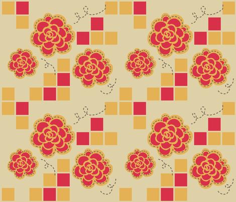 retro_floral_kitchen fabric by lemonsinlove on Spoonflower - custom fabric