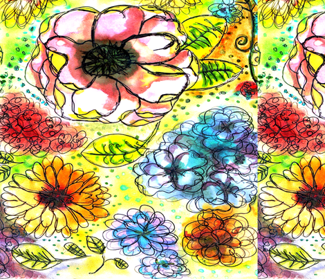 Watercolor Garden fabric by lesliecassidy on Spoonflower - custom fabric