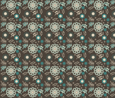 owlcoordinatesflowers fabric by suziwollman on Spoonflower - custom fabric