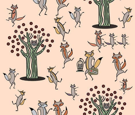 Fox Dance fabric by chickoteria on Spoonflower - custom fabric