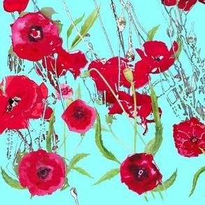 poppy field in aqua
