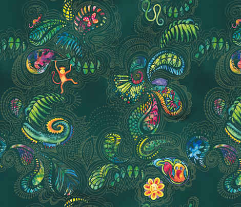 Jungle Fun Paisley fabric by evamarion on Spoonflower - custom fabric