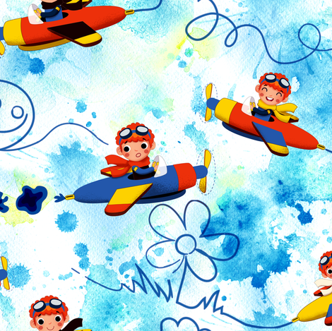 Drawings in the sky fabric by irrimiri on Spoonflower - custom fabric