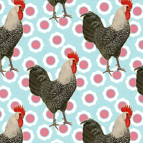 Rooster Mania fabric by littlerhodydesign on Spoonflower - custom fabric