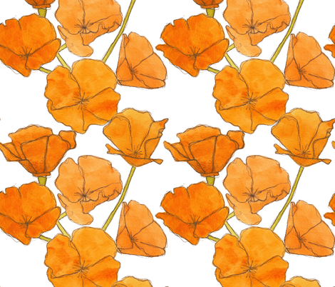 Poppy_pattern fabric by studiodena on Spoonflower - custom fabric