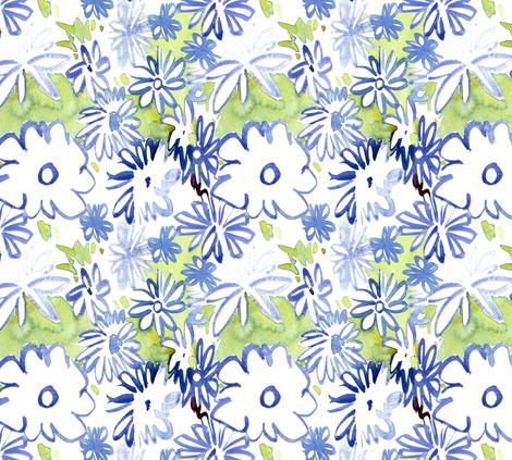 cestlaviv_bluedaisies2 fabric by cest_la_viv on Spoonflower - custom fabric