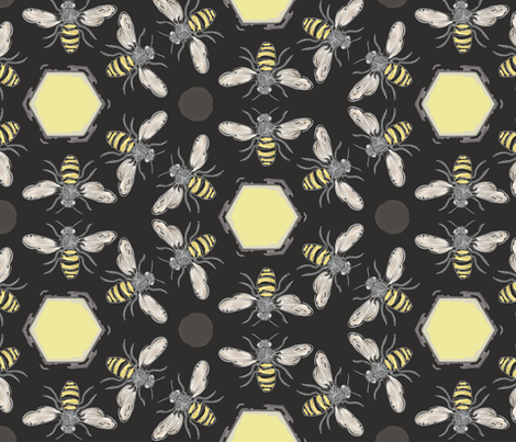 Beneficial Bumblebees & Hexagonal Honeycombs fabric by owlandchickadee on Spoonflower - custom fabric