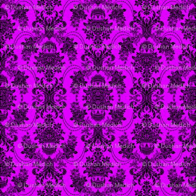 Pink And Black Vintage Baroque Floral Pattern