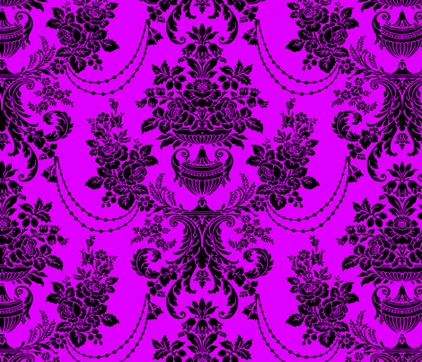 Pink And Black Vintage Baroque Floral Pattern fabric by artonwear on Spoonflower - custom fabric