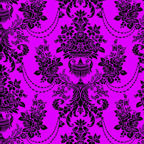 Pink And Black Vintage Baroque Floral Pattern