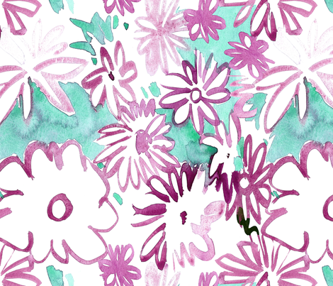 cestlaviv_pink daisies fabric by cest_la_viv on Spoonflower - custom fabric