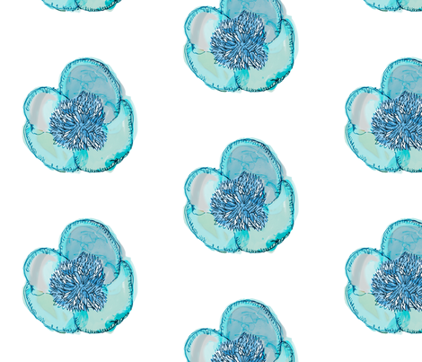 Blue Floating Peony fabric by pixabo on Spoonflower - custom fabric