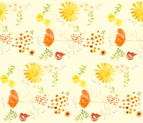 daisy lily poppy & rose fabric by lisaekström on Spoonflower - custom fabric