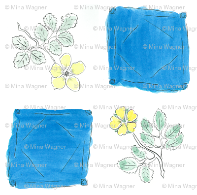 Ink and Watercolor Flowers - yellow green  and thalo blue