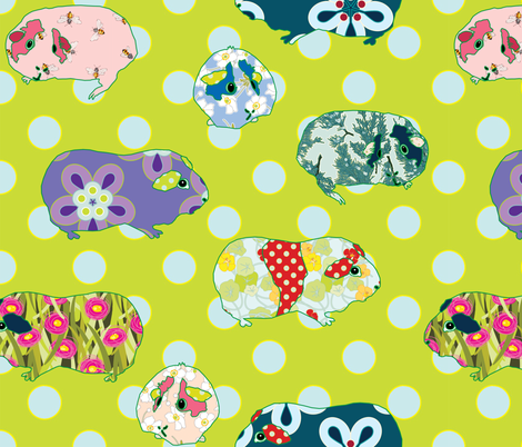 Guinea Pig Applique fabric by anntuck on Spoonflower - custom fabric