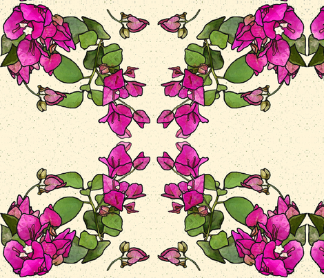 WATERCOLOR BOUGAINVILLE WREATHS on CREAM BACKGROUND fabric by zsmama on Spoonflower - custom fabric