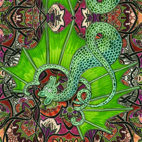 Baby Gargoyle in his Forest fabric by edsel2084 on Spoonflower - custom fabric