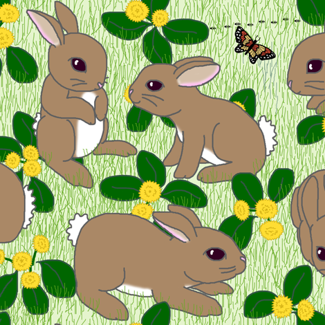 Bunnies au naturel - green (click on the FQ view if the picture doesn't load properly) fabric by victorialasher on Spoonflower - custom fabric