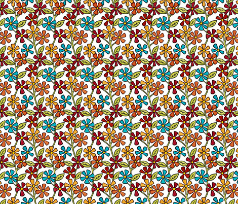 White with Flowers fabric by sarah_angst_arts on Spoonflower - custom fabric