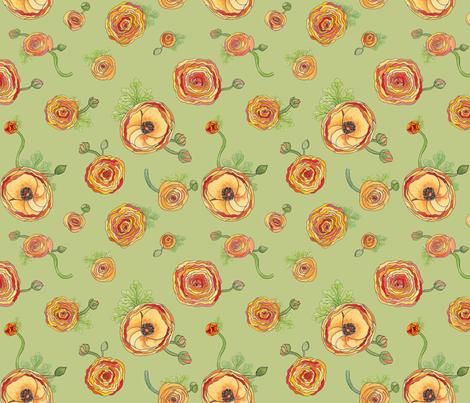 Ranunculus - Celadon fabric by sheila_marie_delgado on Spoonflower - custom fabric