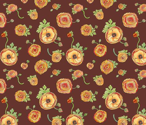 Ranunculus Chocolate fabric by sheila's_corner on Spoonflower - custom fabric