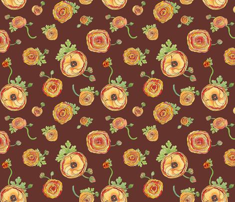 Ranunculus - Chocolate fabric by sheila_marie_delgado on Spoonflower - custom fabric