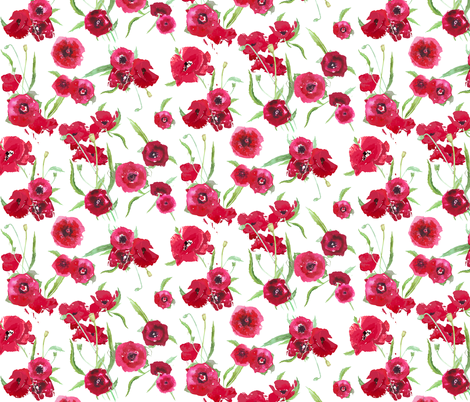poppy fresh smaller scale fabric by katarina on Spoonflower - custom fabric